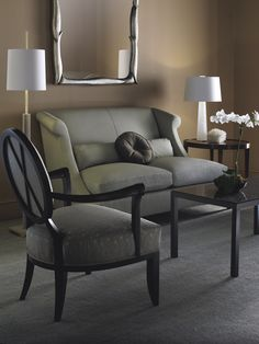 The Oval X-Back Chair from The Barbara Barry Collection and the Villa Loveseat from The Thomas Pheasant Collection work together seamlessly. Interior Design Studio, Luxury Interior Design, Interior Styling, Interior Decorating, Baker Furniture, Fine Furniture, Sofa Furniture, Sofa Inspiration, Classic Furniture