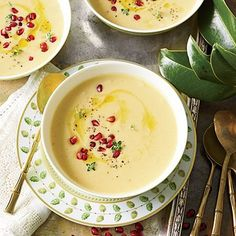 Roasting cauliflower brings out a delicious nutty flavor and gives the soup a gorgeous silky texture. Prepare the soup through Step 4 up to two days ahead. Let cool; cover and chill. Reheat just before you're ready to serve. Serve the soup as a seated starter while your turkey rests.