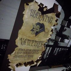 Beware Vampires sign by Dave Lowe