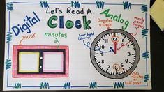 This anchor chart is to help teach time to first graders. They are telling time to the hour and half hour. The digital clock has space to write numbers on sticky notes. #anchorcharts #firstgrade #tellingtime #interactiveanchorcharts