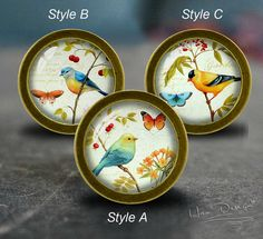"""Birds&Butterfly -- Drawer knobs/ Handmade Vintage Bronze Dresser knobs cabinet Dresser Knobs pull / Dresser Pull / Cabinet Knobs / Furniture Knobs - 4 Colors available  -5 Colors available: Antique bronze Antique Silver Black Silver Golden  Diameter: 1.50""""(38mm) Height: 1.18""""(30mm) Diameter of Basement: 0.87""""(22mm) One screw is included, Length 25mm. Diameter of drilling hole: M4 (4mm)  Material: Zinc Alloy, Glass, Illustration If you need bigger quantity please contact me before ordering…"""