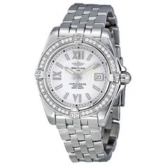 Breitling Galactic Silver Dial Diamond Ladies Watch ($4,895) ❤ liked on Polyvore featuring jewelry, watches, diamond dial watches, breitling watches, breitling, cosmic jewelry and roman numeral watches