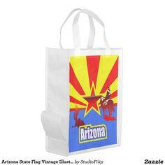 Arizona State Flag Vintage Illustration Reusable Grocery Bag
