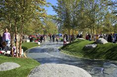 Klyde Warren Park - Splash pad fountains in Childrens Area - Designed by The Office of James Burnett  www.fountainsdallas.com