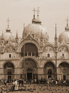 St. Mark's Basilica in Venice, Italy. Ornate architecture of Italy. Sepia photography by Donna Corless.
