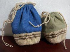 https://flic.kr/p/xV4MCH | Bolsitas mitad crochet, mitad tela | tutorial aquí: www.fronterad.com/?q=bitacoras/mariatenorio/como-hacer-bo...