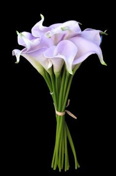 """14"""" Small Real Touch Hand-Tied Calla Lily Wedding  Bouquet in Lavender with 12 Flowers"""
