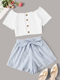 Button Front Bardot Top & Stripe Belted Shorts Check out this Button Front Bardot Top & Stripe Belted Shorts on Shein and explore more to meet your fashion needs! Outfits Teenager Mädchen, Teenage Girl Outfits, Girls Fashion Clothes, Teen Fashion Outfits, Cute Fashion, Teenager Fashion, Women's Fashion, Fashion Trends, Cute Comfy Outfits