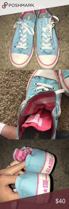 Brand new!! Baby blue converse Women's size 9. Never been worn, baby blue with accents of pink and flaps under tongue! Super cute and unused low top converse :) Converse Shoes Sneakers