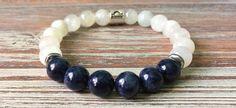 I designed this bracelet for the star sign Libra. People born under this sign are born September 23 to October 22. The stones that I chose for this mala are birthstone Sapphire and companion crystal Moonstone. People born under this sign tend to be kind, gentle and peaceful but find it