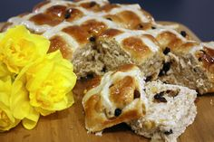 Homemade Hot Cross Buns for Easter Hot Cross Buns, French Toast, Easter, Bread, Homemade, Cooking, Breakfast, Recipes, Food