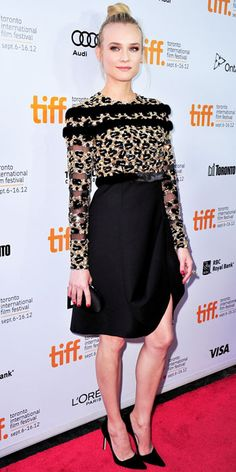 09/12/12: Diane Kruger donned Valentino Couture to join her boyfriend, Joshua Jackson, at the Toronto International Film Festival debut of Inescapable.