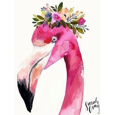 Flamingo with Floral Crown Print ❤ liked on Polyvore featuring home, home decor, wall art, crown wall art, flamingo wall art, floral home decor, paper wall art and flamingo home decor