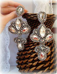 """Серьги ручной работы. Ярмарка Мастеров - ручная работа """"Brilliant Lady"""" серьги с кристаллами и хрусталем.. Handmade."""