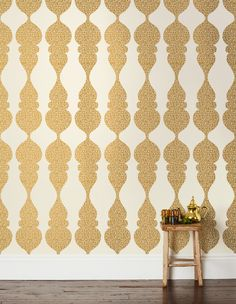 Carved Ogee Wallpaper contemporary-wallpaper