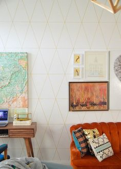 Beautiful Decorative Wall Created by DIY: Smart Decor Of Living Room With Gold Triangle Wall Design Using Permanent Marker Behind The Orange...