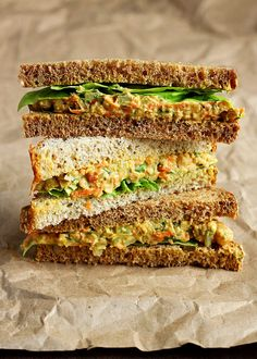 "Lentil + Chickpea Salad Sandwiches {a. Vegan ""Egg"" Salad Sandwiches} - dip rice crackers in or use gf bread Lentil Recipes, Vegetarian Recipes, Healthy Recipes, Lunch Recipes, Salad Recipes, Delicious Recipes, Healthy Food, Egg Salad Sandwiches, Healthy Sandwiches"