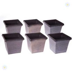 nice Pots and Planters Set of 6 square outdoor planters 17.5cm metallic look Check more at http://www.gardenorchid.co.uk/product/pots-and-planters-set-of-6-square-outdoor-planters-17-5cm-metallic-look/
