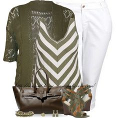 """""""Chevron Stripe Tank - Plus Size"""" by stay-at-home-mom on Polyvore"""