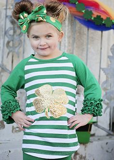 Adorable icing sleeve raglan tee for St. Patrick's Day! Love the green stripes and a gold sequin shamrock. I could see this one being perfect for personalizing with a monogram or some embroidery on the front.