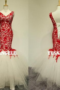 Mermaid Red Wedding Dresses,Tulle Long Wedding Dresses,Wedding Dresses 2015,Cap Sleeve Long prom Dress,Long Evening Dresses