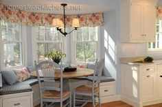Bay window bench seating in kitchen | Kitchen bay window seat Design Ideas, Pictures, Remodel and Decor