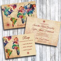 Reise-Themed Hochzeitseinladung mit RSVP-Karte von HeyGurlStudio