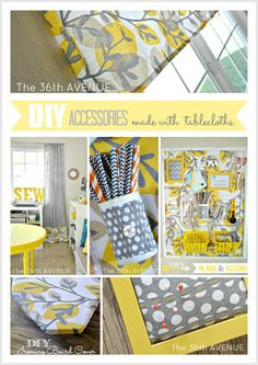 DIY Craft Room Decor and Accessories made with tablecloths. Loving the yellow! the36thavenue.com