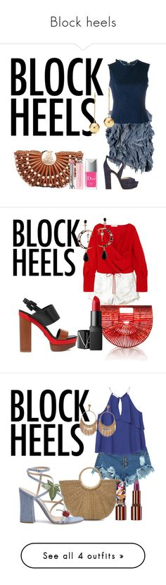 """""""Block heels"""" by sofiacalo ❤ liked on Polyvore featuring Marques'Almeida, Natasha Zinko, Jimmy Choo, Christian Dior, Hollister Co., Cult Gaia, Adeam, NARS Cosmetics, Michael Kors and WithChic"""