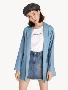 d0189bc0f5917 Oversized Pocket Blazer - Blue - Pomelo Fashion