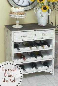 Old dresser to wine rack - I don't drink wine but I still think this is cute.
