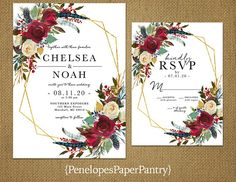 Penelopes Paper Pantry is proud to list our collection of Winter Wedding Invitations. The wedding invitations are fully customizable for your big day. This listing is for printed invitations. There is a 24 count minimum per order or per color. Our wedding invitations are printed