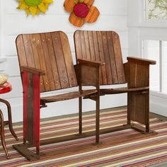 """VINTAGE CINEMA SEATS -- On a covered porch or in your great room or a cozy alcove, these vintage double seaters were reclaimed from movie theaters in India. Each piece unique with sturdy metal base. Imported. Approx. 42-1/2""""W x 20""""D x 31""""H."""