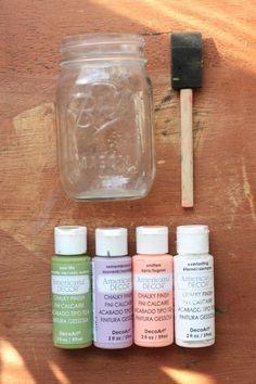 Mason jars painted with chalk paint