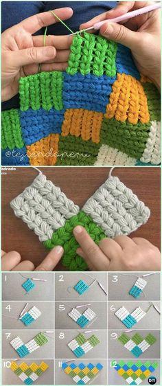 Crochet Puff Braid Entrelac Blanket Free Pattern Video - #Crochet Block Blanket Free Patterns