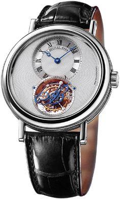 Breguet Tourbillion Silver Dial Platinum Black Leather Men's Watch 5357PT1B9V6