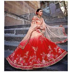 #uk #banglewale #designer #partywear #cream and red #lehenga #shoponline on international.banglewale.com