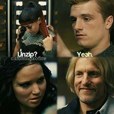 "katniss, peeta, johanna and haymitch there faces are so funny! Peeta is just like ya ok why not and katniss is like ""peeta u better not be looking at her like that, u slept with me last night! Hunger Games Memes, The Hunger Games, Hunger Games Fandom, Hunger Games Catching Fire, Hunger Games Trilogy, Katniss E Peeta, Katniss Everdeen, Mockingjay, William Faulkner"