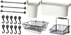 """Amazon.com: Ikea 3 Rails 31"""" + 10 Hook + Cutlery Caddy + Condiment Stand + Dish Drainer + Basket Kitchen Storage Organizer Set Fintorp: Home & Kitchen"""