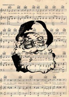 vintage Halloween Sheet Music | cottage 960 a vintage inspired life: Retro Santa Free Printable and ...