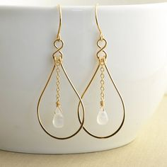 Moonstone Gold Hoop Earrings