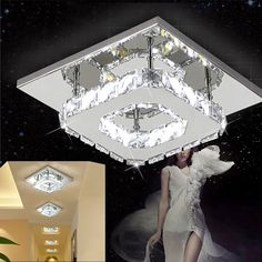 Modern Square 20cm 12W LED Crystal Ceiling Lights Chandeliers Aisle Light Lamp