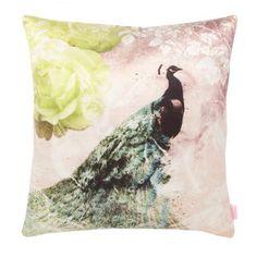 Butterfly Home by Matthew Williamson Cream peacock printed satin cushion- at Debenhams.com