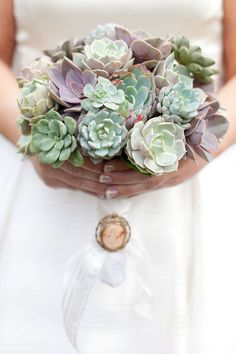 succulent bouquet - love! The Party Goddess! Marley Majcher ThePartyGoddess.com #wedding #event #bouquet