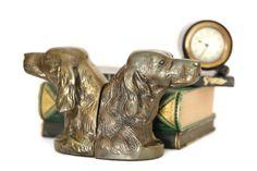 Brass Dog Bookends, Metal Dog Bookends, Retriever Bookends, Setter Bookends, Spaniel Dog Bookends, H #etsy #vintage #etsygifts #findsfromyesteryear