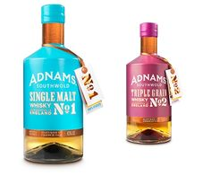 CookChick has used bold cyan and magenta colours for the Suffolk brewer and distiller's first whisky.