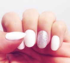 White stiletto nails, glitter party nail