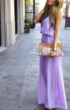 The perfect spring hue. Pin It  This lilac maxi dress is so perfect for summer! It's girly, it's feminine and it's a colour that anyone can rock. You can team it with a number of bright or neutral accessories, and lilac really looks sexy with a gold chunky bangle or earrings, like the girl in the picture! The thing about lilac is that it's a colour that not many people invest in, however it's absolutely timeless and it's definitely more fun than boring black! It's a perfect colour for when…