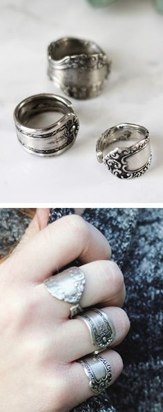 DIY Spoon Rings. Would be great for first baby spoon, wedding silverware, grandmother's table wares, and so on...