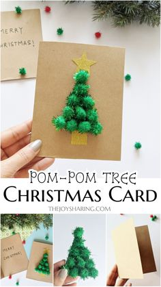 Pom-Pom Tree Christmas Card Easy Christmas card idea for preschool. Cute DIY Christmas card idea that kids can make with little help. Simple Christmas Cards, Printable Christmas Cards, Homemade Christmas Cards, Christmas Crafts For Gifts, Noel Christmas, Handmade Christmas, Quick Diy Christmas Decorations, Christmas Card Ideas With Kids, Xmas Cards